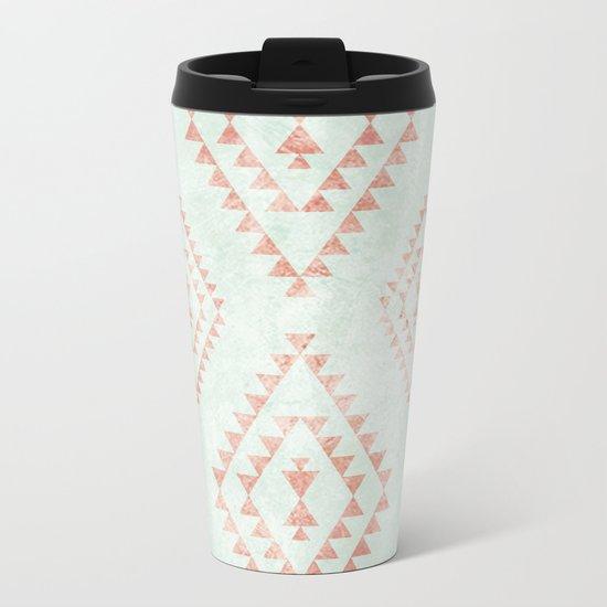 mint & coral tribal pattern Metal Travel Mug