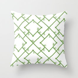 Bamboo Chinoiserie Lattice in White + Green Throw Pillow