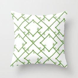 Bamboo Chinoiserie Lattice in White + Green Deko-Kissen