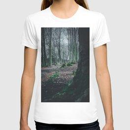 Moss Covered Tree Stump Hiking Path Forest dark T-shirt