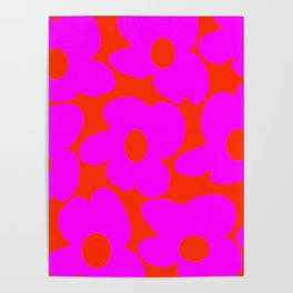 Pink Retro Flowers Orange Red Background #decor #society6 #buyart Poster