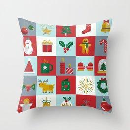 Fun Christmas Pattern Throw Pillow