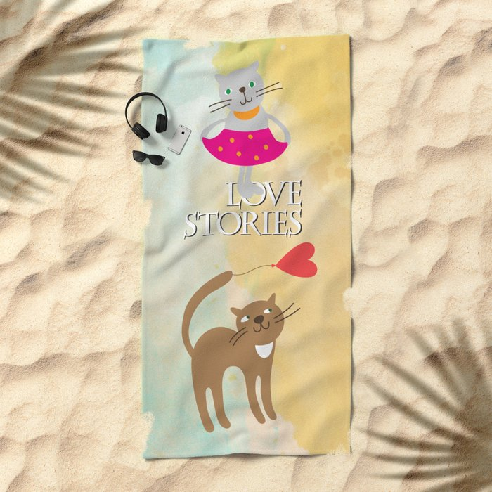 Cats - love stories Beach Towel