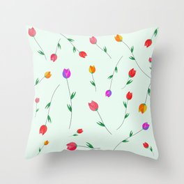 Pattern of tulips. Tulips scattered on the web Throw Pillow