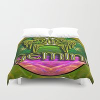 astrology Duvet Covers featuring Gemini Zodiac Sign Astrology by CAP Artwork & Design