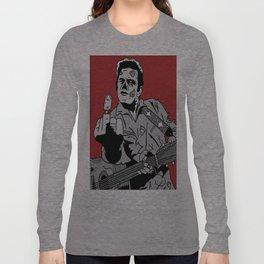 Johnny Cash Zombie Portrait Giving the Finger Print Long Sleeve T-shirt