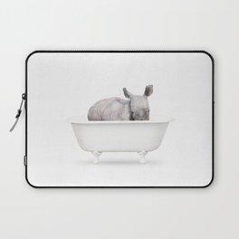 Baby Rhino in a Vintage Bathtub (c) Laptop Sleeve