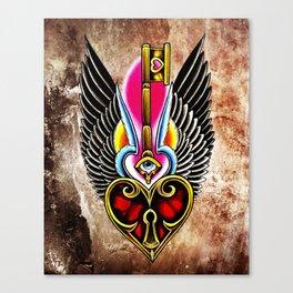 trad wing key heart Canvas Print
