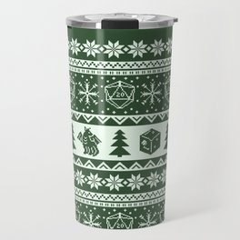 "Roll for Initiative Fair Isle in ""Evergreen"" Travel Mug"