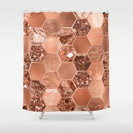 Rose gold hexaglam blonde Shower Curtain