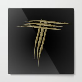 Letter T scratch (gold) Metal Print