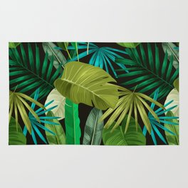 Tropical Leaf Pattern Rug