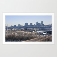 kansas city Art Prints featuring kansas city by sannngat