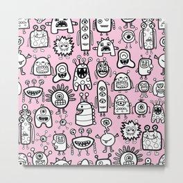 Cute Aliens Black White Pink Pattern Metal Print