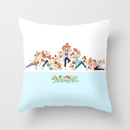 Yoga Girls_Growing With Poses_Robin Pickens Throw Pillow