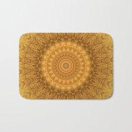 Sunflower Feather Bohemian Sun Ray Pattern \\ Aesthetic Vintage \\ Yellow Orange Color Scheme Bath Mat