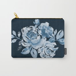 Country Rose on Indigo Carry-All Pouch