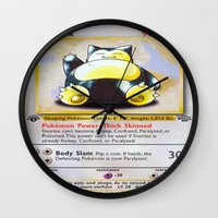 snorlax Wall Clocks featuring Snorlax Card by Neon Monsters