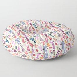 Dress Papercut Pattern - baby Yellow Floor Pillow
