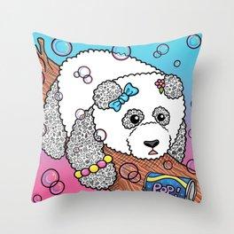 Cute Panda Bubble Pop Doodle pink version Throw Pillow
