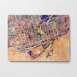 Toronto Canada Street Map Metal Print