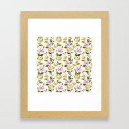 Elegant ivory pink lavender country floral pattern Framed Art Print