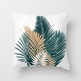Gold and Green Palm Leaves Throw Pillow