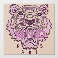 kenzo Canvas Prints featuring KENZO Tiger, pink  by cvrcak
