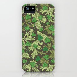 Green ivy with ornament on dark brown background iPhone Case
