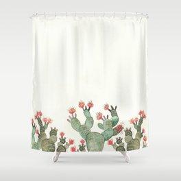 Prickly Pear Cactus Succulent Shower Curtain