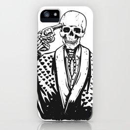 Suicide skeleton illustration iPhone Case