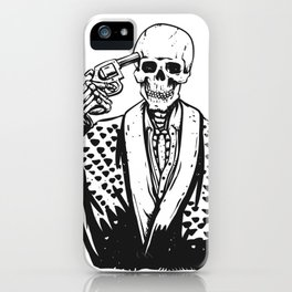 Suicide skeleton illustration iPhone Case