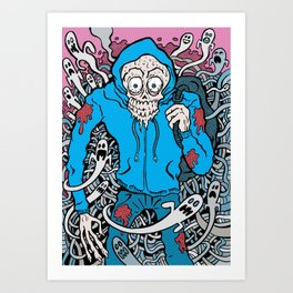 Hooded Skull  Art Print