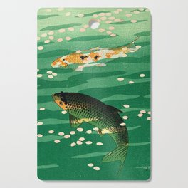 Vintage Japanese Woodblock Print Asian Art Koi Pond Fish Turquoise Green Water Cherry Blossom Cutting Board