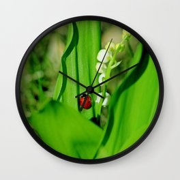 The Ladybug and Lily of the valley Wall Clock