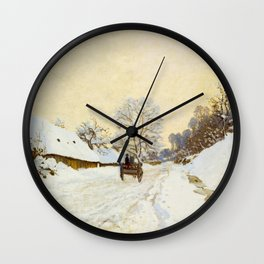 Claude Monet Impressionist Landscape Oil Painting A Cart on the Snowy Road at Honfleur Wall Clock