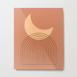 Moon Mountain Terra Orange - Mid century modern Metal Print