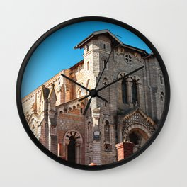 Close-up of romanesque revival church architecture of Trevoux town in France near Lyon Wall Clock