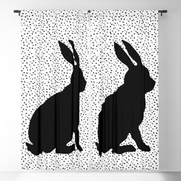 Black Silhouette Sitting Bunny Rabbit Polka Dots on White Blackout Curtain