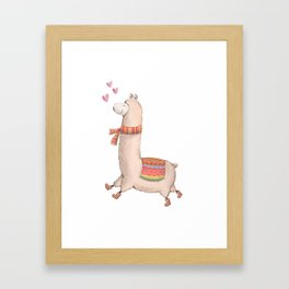 Happy Chubby Llama Framed Art Print
