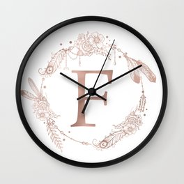 Letter F Rose Gold Pink Initial Monogram Wall Clock