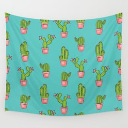 cactus garden pattern repeat Wall Tapestry