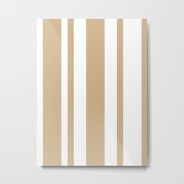 Mixed Vertical Stripes - White and Tan Brown Metal Print