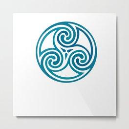 St. Patrick's Day Celtic Blue Mandala #5 Metal Print