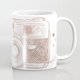 Floral Camera Pink Rose Gold Coffee Mug