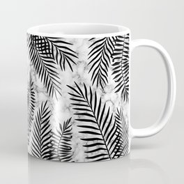 Black palm leaves on marble Coffee Mug