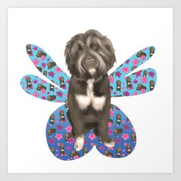 Oliver the Fluffy Dog with Fairy Wings Art Print