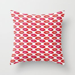 Lipstick Red and Pink Pattern Throw Pillow