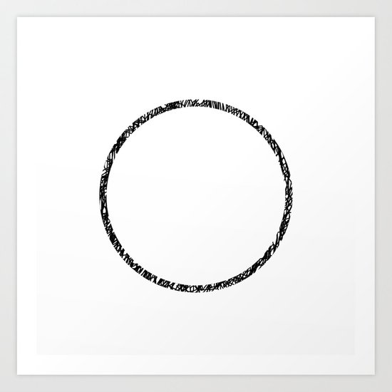 Scribble Ring - Black ink, black and white, minimalistic, ring artwork Art Print