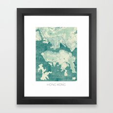 Hong Kong Map Blue Vintage Framed Art Print